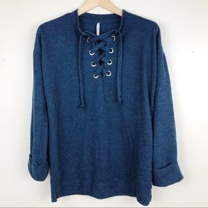 My Story Blue Lace Up Knit Pullover tunic